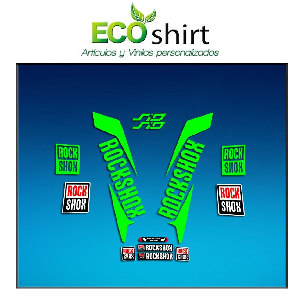 Gr/ün Fluor 069 Ecoshirt GX-DA5M-P3QE Sticker Stickers Fork Rock Shox SID 2017 Am156 Aufkleber Decals Autocollants Adesivi Forcela