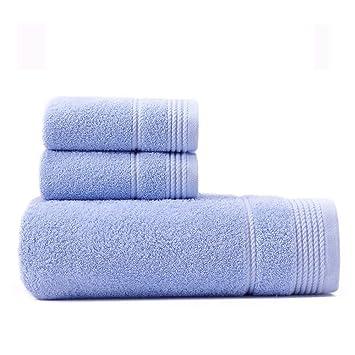 SYXLTSH 1 Toalla de baño + 2 Toallas algodón Suave Adulto Pareja Absorbente de Secado rápido Set Azul: Amazon.es: Hogar