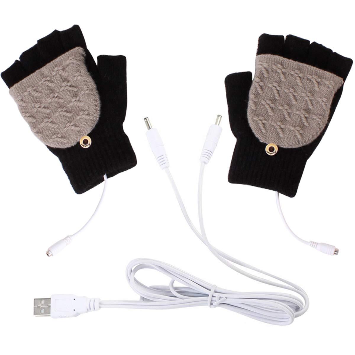 Hanpmy Guantes completos y sin Dedos 1 par de Guantes calefactados por USB Unisex Mitones de Punto c/álido para Clima fr/ío