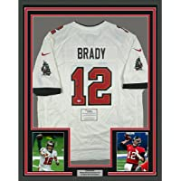 $2999 » Framed Autographed/Signed Tom Brady 33x42 Tampa Bay Buccaneers White Authentic Nike Game Football Jersey Fanatics COA