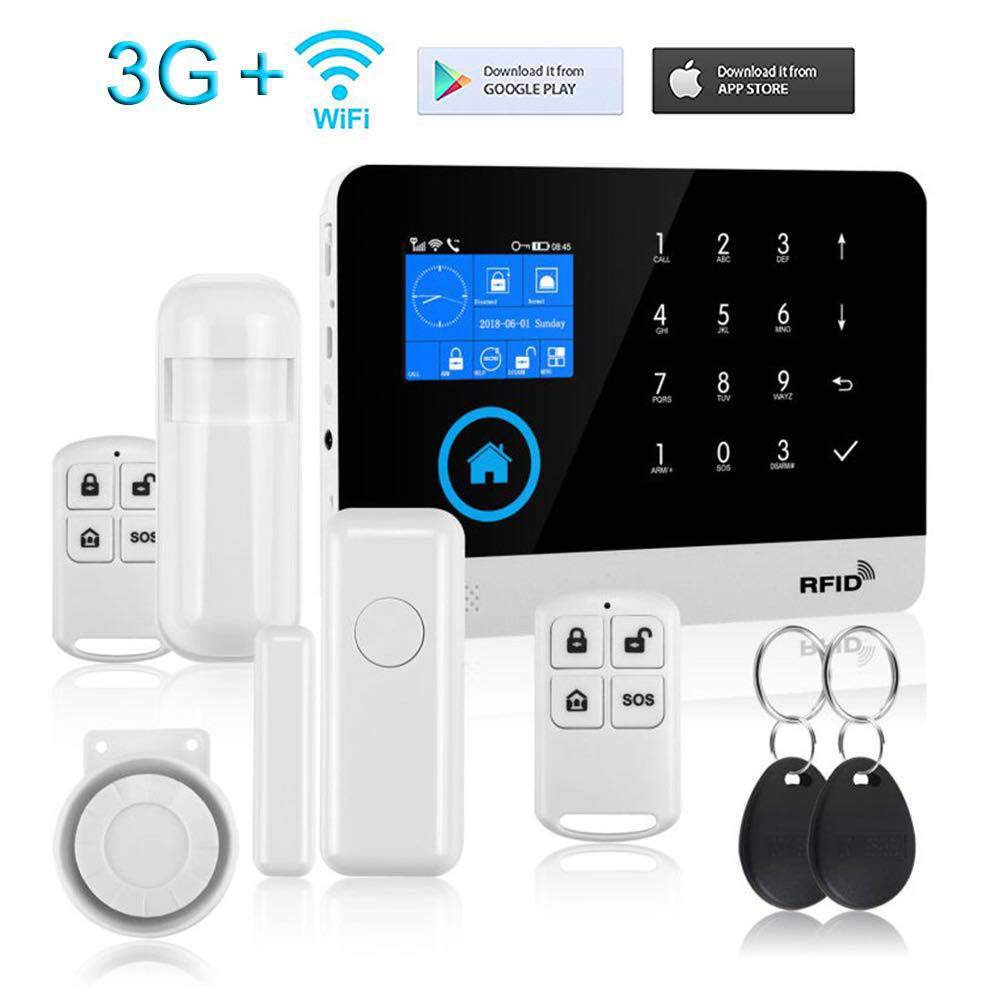 Security Touch Screen Keypad LCD Display WiFi GSM 3G iOS Android APP Wireless Home Burglar Security Alarm System Kit