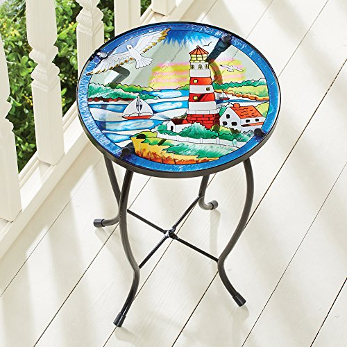 Collections Etc Nautical Lighthouse Outdoor Home Décor Round Garden Accent Side Table