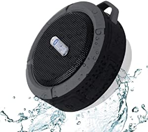C6 Portable Bluetooth Speaker, Water Resistant Bluetooth Speaker with 6H Playtime, Loud HD Sound, Shower Speaker with Suction Cup & Sturdy Hook, Compatible with Cell Phones, PC, Laptops (Black)