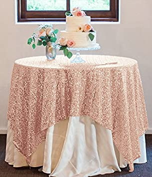 ShinyBeauty 70x70 Inch Sequin Tablecloth Square Blush Sequin Table Overlay  For Wedding/