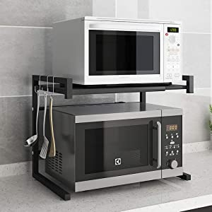 """Microwave Oven Shelf, Microwave Counter Stand Storage Organizer, Expandable and Length Adjustable Microwave Shelf.Kitchen Tableware Storage Rack with 3 Hooks, Save Space Durable Stainless Steel (24"""")"""