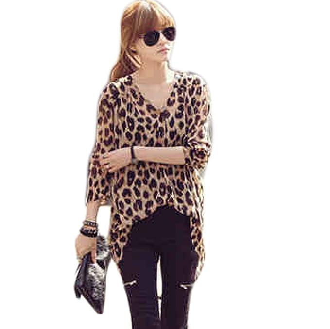 Super bebé botón de diseño de estampado de leopardo para mujer chaqueta blusa de Asym