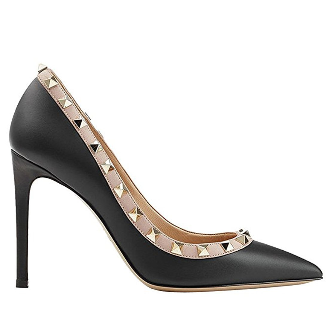 Chris-T Women's Studded Stiletto High Heels Rivets Shoes Pointed Toe Slip On Pumps 5-14 US B076FD46QS 8 B(M) US|Black Matte