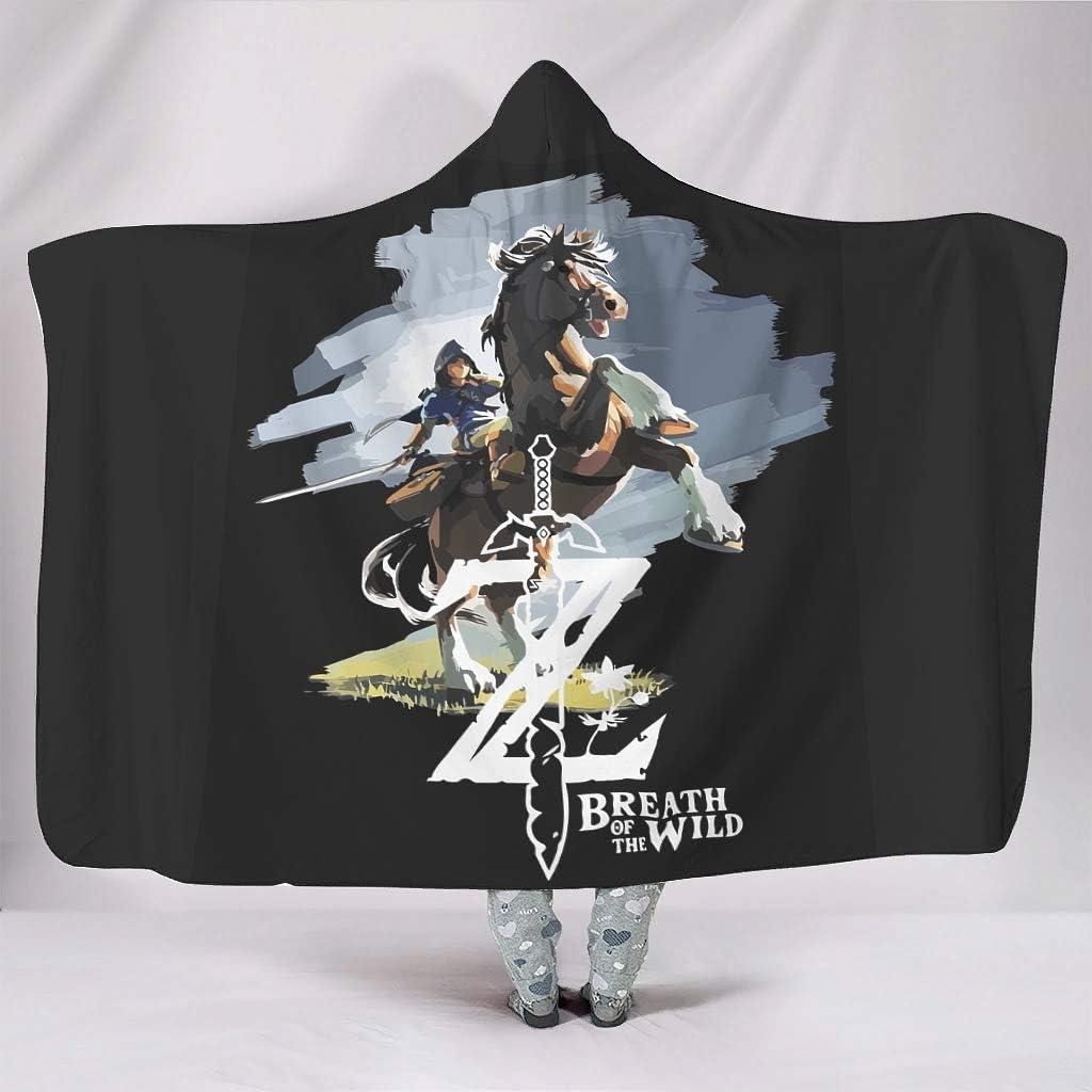 XHJQ88 - Manta de murciélago con Estampado de Caballo de Zelda para Oficina, con Capucha, Ideal para Uso en Adolescentes, Polar, Blanco, 203x139cm