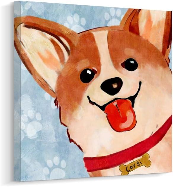 Cartoon Cute Corgi Dog Canvas Wall Art Print Picture for Kids Room (B, 12 x 12 inch)
