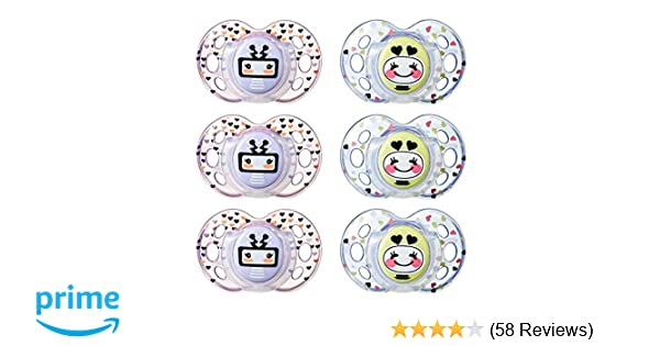 Tommee Tippee Closer to Nature Fun Infant Pacifier, 18-36 Months, 6 Count, Girl