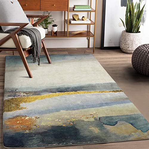 Lahome Modern Abstract Area Rug – 3 X 5 Non-Slip Distressed Area Rug Small Accent Throw Rugs Floor Carpet for Door Mat Entryway Bedrooms Laundry Room Decor 3 X 5 , Blue Gray