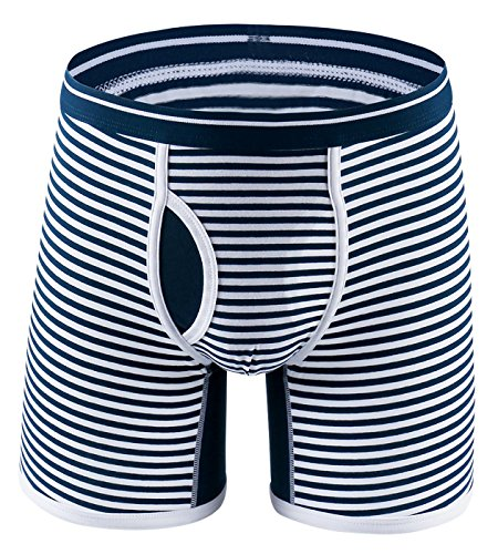 (FEOYA Men's Striped Underwear Long Leg U Convex Pouch Boxer Briefs with Fly Size 3XL - Navy Pinstripe)