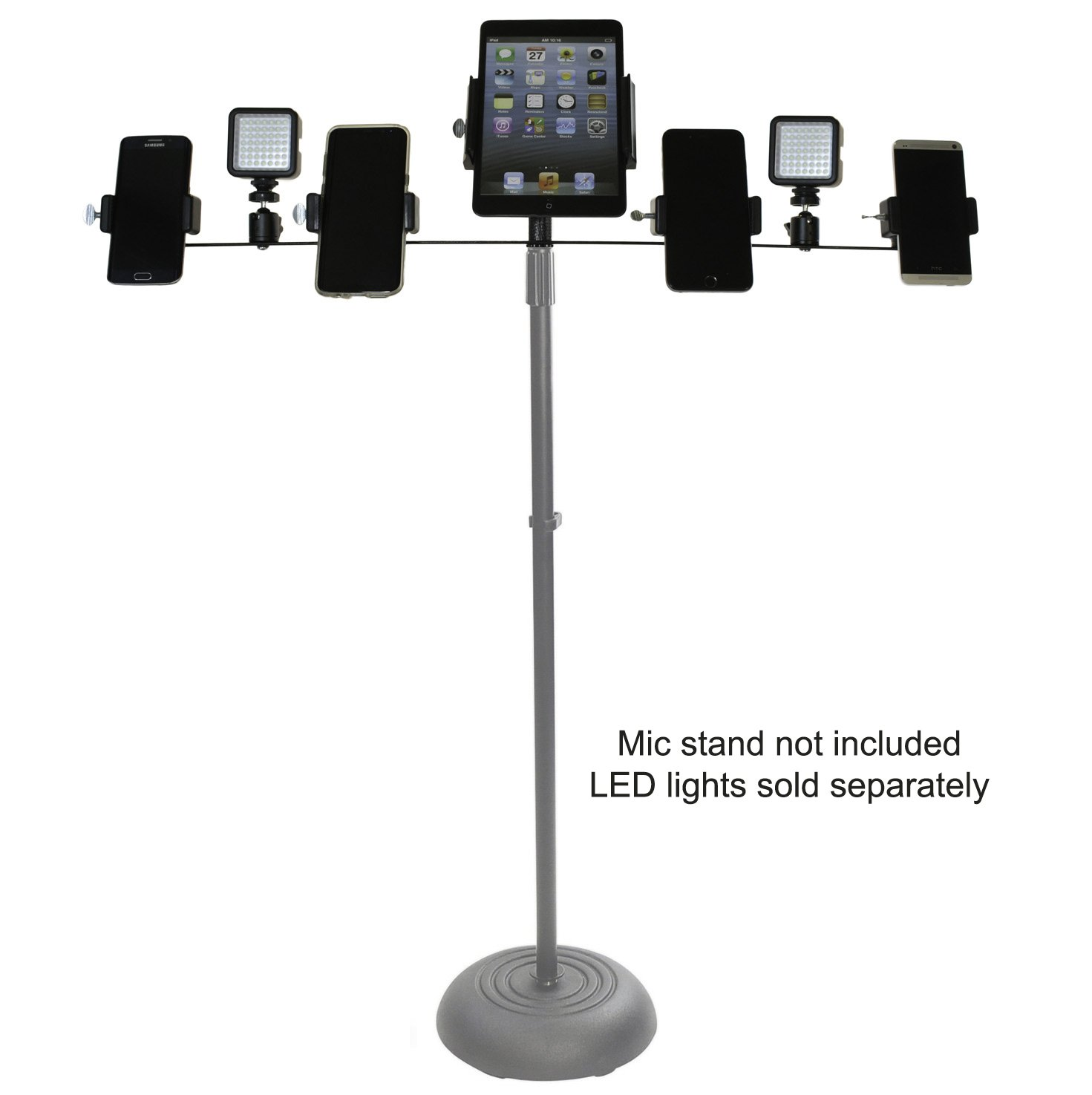Livestream Gear - Multiple Device Bar Mount for Tablets & Phones to fit on top of Standard Mic Stands. Live Stream or Record Video with Multiple Devices During Events. (7 Device Bar)