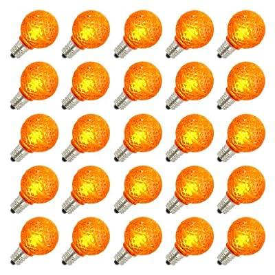 Vickerman 25803 - G30 Candelabra Screw Base Orange LED Faceted (25 pack) Christmas Light Bulbs (XLEDG38)