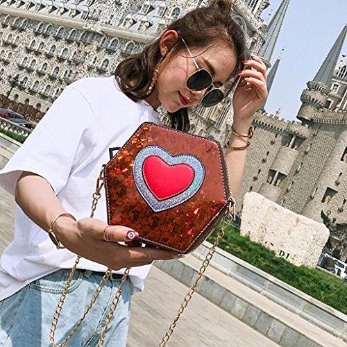 Personalidad Moda Brown Crossbody Cadena Corazón Diagonal Las En De Yu·casa Bolso Pink Hombro Liu Mujeres Forma Colorido La Creativa color HIFOqax6
