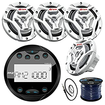 Pyle PLMR91UB Gauge Style Marine Boat Yacht Radio Stereo Receiver Bundle Combo With 4x JVC CS-DR6201MW 300-Watt 6.5 2-Way Coaxial Speakers Enrock Radio Antenna 50 Foot 16g Speaker Wire