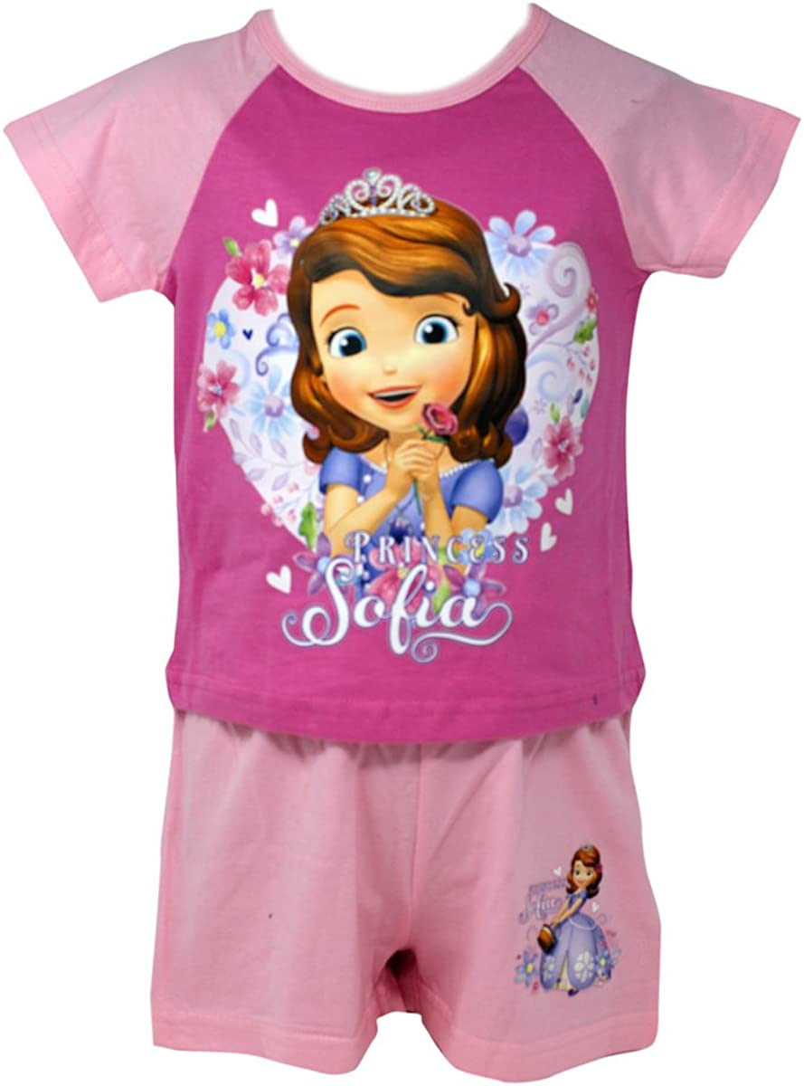 Officially Certified Sofia the First Girls Kids Shirt /& Shorts Set Pyjama Set
