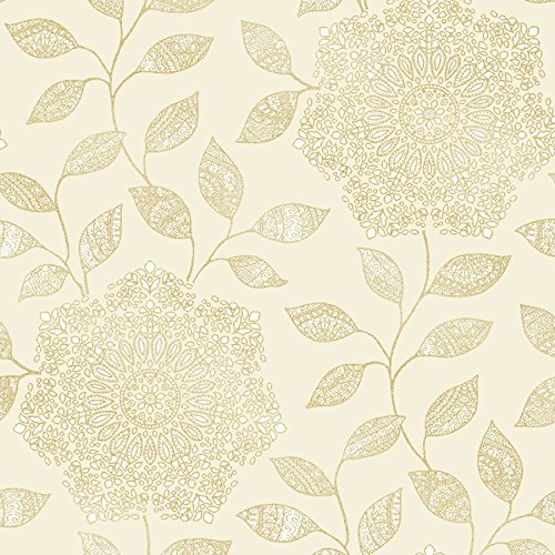 Oriental Floral Wallpaper (Kenneth James 2618-21319 Shirazi Bohemian Floral Wallpaper, Champagne)