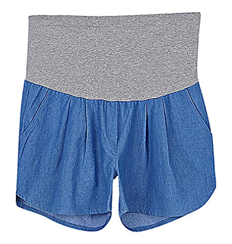 US&R, Women's Light Blue Pleated Comfy Secret Fit Belly Maternity Dolphin Shorts, Blue 10 ,Manufacturer(XXL)