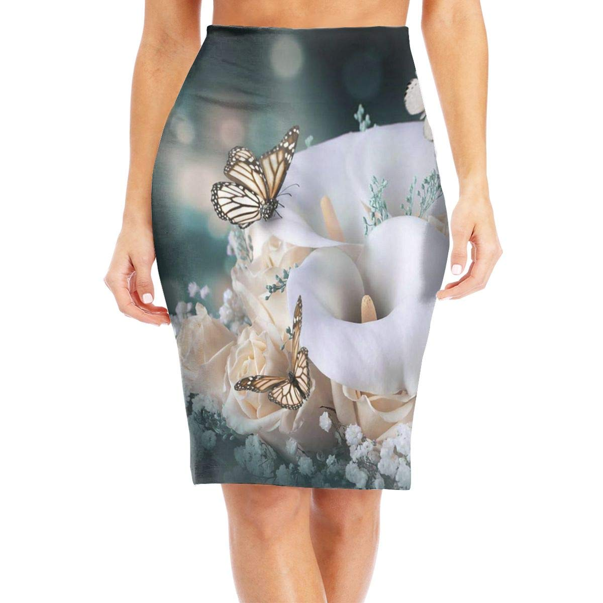 Common Callalily Butterfly Women's Slim Skirt Elegant Knee Length Pencil Skirts White by CAWHJDW