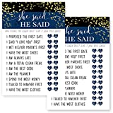 Navy and Gold Bridal Shower Games He Said She Said Set of 25 Cards