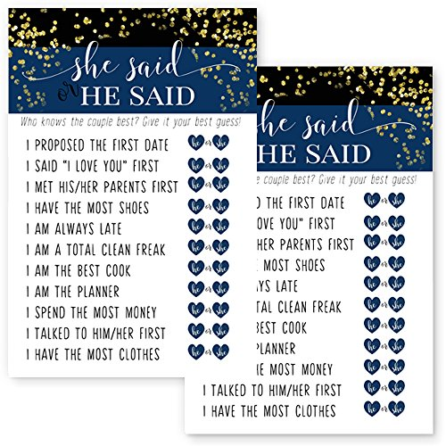 Navy and Gold Bridal Shower Games He Said