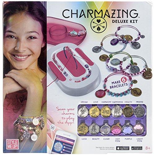 Style Me Up - DIY Friendship Bead Bracelet Craft Set with Magic Charms - Kids Fashion BFF Bangle Bracelet Making Set for Girls - Charmazing Deluxe Kit - SMU-907