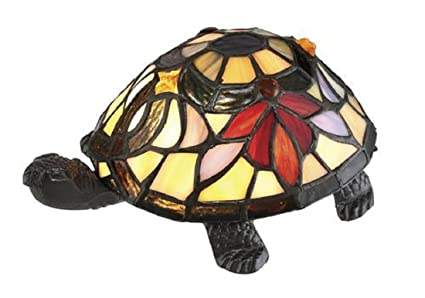 3 5 Tiffany Style Multi Colored Turtle Shaped Table Lamp Bronze