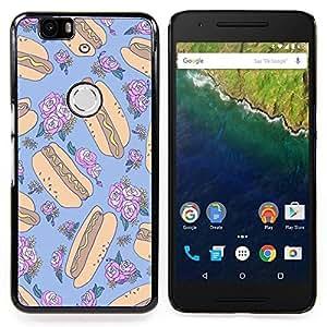 - hotdog crazy floral random blue food - - Modelo de la piel protectora de la cubierta del caso FOR Huawei Nexus 6P RetroCandy
