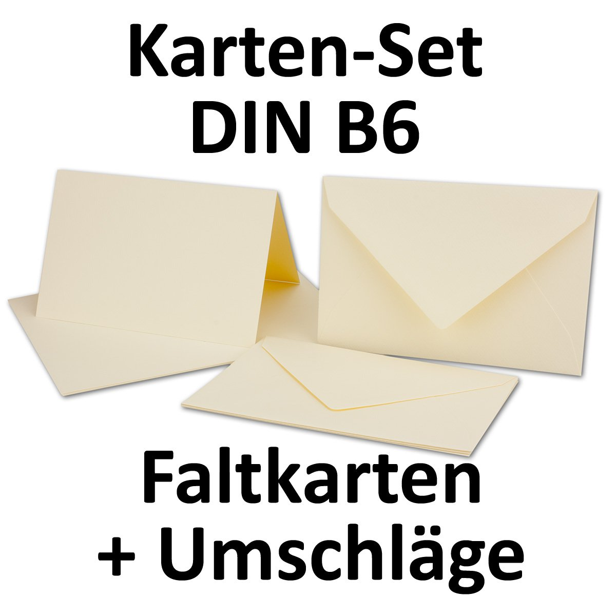 Tarjeta del paquete/plegable Tarjetas/Sobres DIN B6 en en en crema Chamois//acanalados., color Creme-Chamois 100 Sets 056d9d