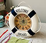 Marine Mediterranean-style life preserver clock wall clock tires hanging home decorations home decor clocks wall,Other,Red