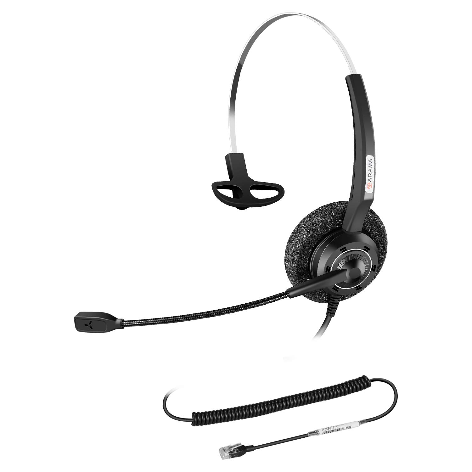 Office Phone Headset with Noise Canceling Mic for Yealink T19P T20P T21P T22P T26P T28P T23G T29G T32 T36 T38 T41P T41S T42S T46S T48S Avaya 1608 9608G 9611G 9640 Grandstream Phones by Arama
