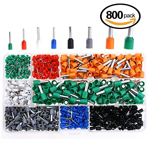 Hilitchi 800pcs 10-24 A.W.G Wire Copper Crimp Connector Insulated Cord Pin End Terminal Kit (Connectors Pin Wire)