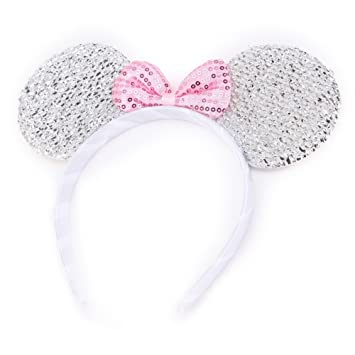 SPARKLY GLITTER CAT EARS SILVER ALICE HEAD HAIR BAND FANCY DRESS HEN DO