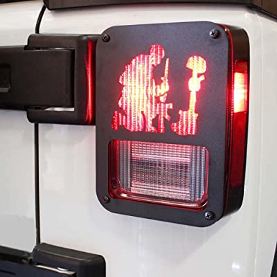 "Xprite Black Light Guard"" American Fallen Soldier"" For Rear Taillights for 2007-2020 Jeep Wrangler JK Unlimited( Tail Light ) Cover - Pair: Automotive"