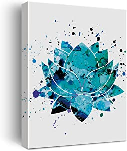 Blue Lotus Flower Art Watercolor Poster Canvas Wall Art for Home/Bedroom/Yoga Studio Decor - Yoga Meditation Chakra Art Canvas Print Wall Art Painting Ready to Hang Spiritual Gifts - Easel & Hanging Hook 12x15 Inch