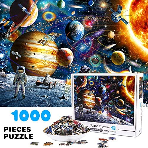 Magicfun Jigsaw Puzzles for Adults Kids, 1000 Pieces Space Astronaut Puzzles with Poster, Cosmic Galaxy Grown up Floor Puzzles Educational Games Toys Gift