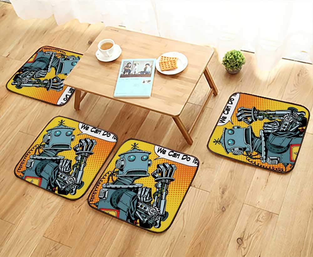 UHOO2018 Modern Chair Cushions The Robot we can do it The Protest Power of The Machine Future Technology Convenient Safety and Hygiene W23.5 x L23.5/4PCS Set
