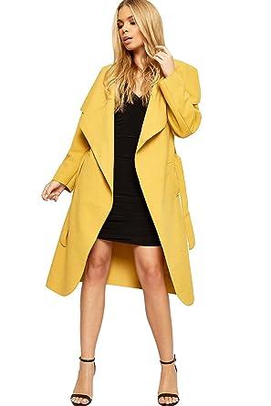 9b8786ae6c06 WearAll Women's Long Open Coat Ladies Celebrity Belted Waterfall Draped  Trench Jacket Top - Mustard -