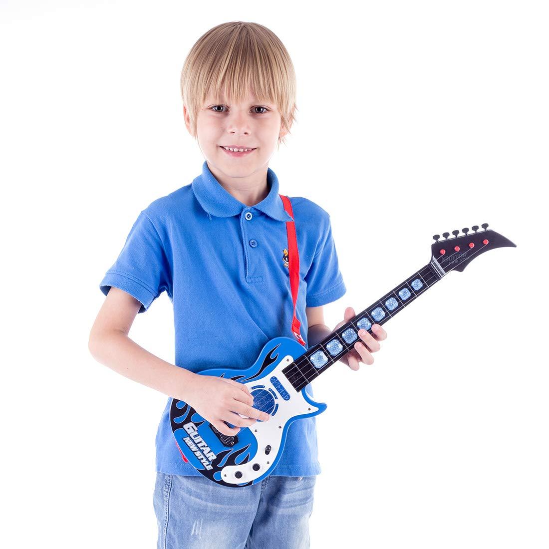 MRKE Guitarra Electrica Niños 53cm 4 Cuerdas Rock Juguete de Instrumentos Musicales Guitarra Regalo con Luz Musical para Infantil Niño y Niña 3-8 Años: ...