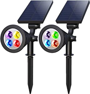 VZCOME Solar Spotlights Outdoor, 2 in 1 Colored Adjustable Wall Landscape Solar Lights, Waterproof Path Walkway Tree Flag Spotlights Auto On/Off, 2 PACK