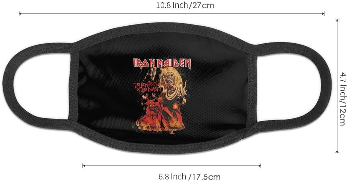 Iron Maiden Reusable Nose Mouth Face Cover with Adjustable Earloops