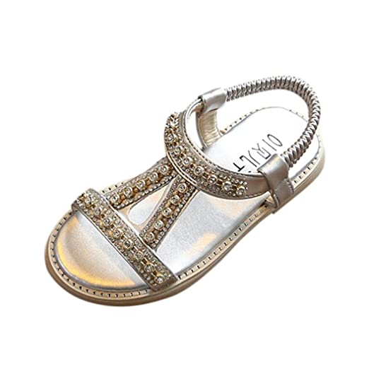 Sandalias bebe niño niña Xinantime Verano Sandalias para bebés Sandalias de playa Crystal Zapatos de princesa romana (21, Plateado): Amazon.es: Relojes
