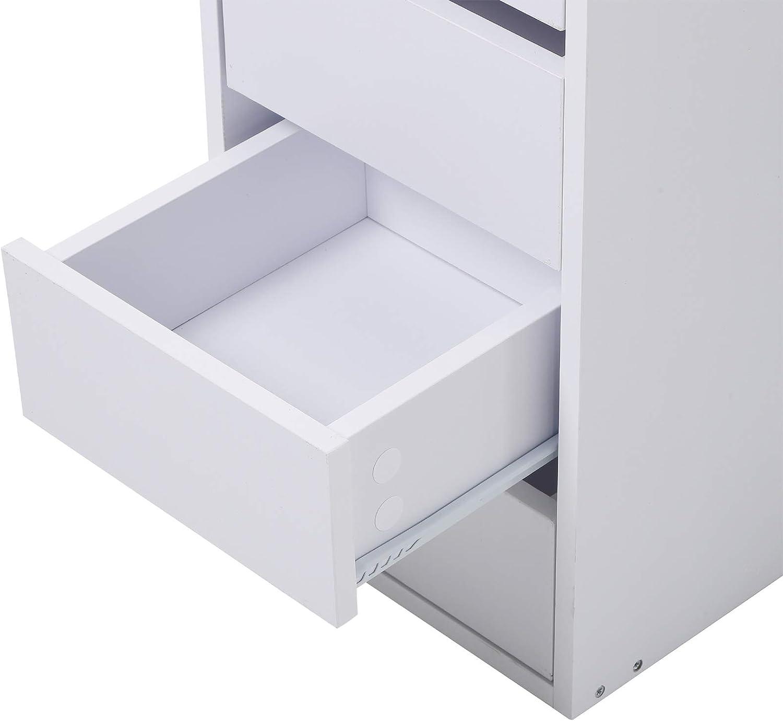 Frisierkommode HOMCOM Schminktisch mit 3 Spiegeln und 5 Schubladen Kosmetiktisch aus Spanplatte 111 x 56,2 x 141,3 cm Wei/ß