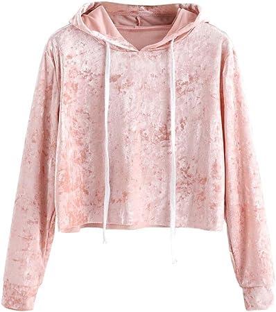 LILICAT Sudadera con Capucha de Terciopelo para Mujer, Camisas Blusas Corto de Otoño Manga Larga Elegantes (S, Rosa): Amazon.es: Hogar