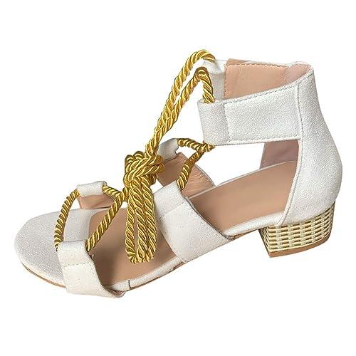 Zapatos Mujer Sandalias de Tacón Media- Mujeres Gladiador ...
