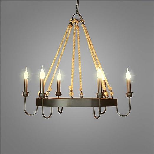 Amazon.com: ladiqi hierro forjado lámpara de araña de techo ...