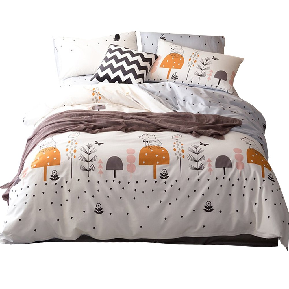 HIGHBUY 3 Piece Kids Duvet Cover Set Full Soft Cotton Animal Printed Bedding Duvet Cover Children Girls Rabbit Elephant Pattern Comforter Cover Modern Boy's Bedding Set Queen Kids HB16074style02Q