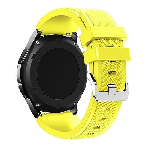 Correas para relojes Samsung Gear S3 Frontier Banda de pulsera de silicona deportiva saisiyiky (Amarillo