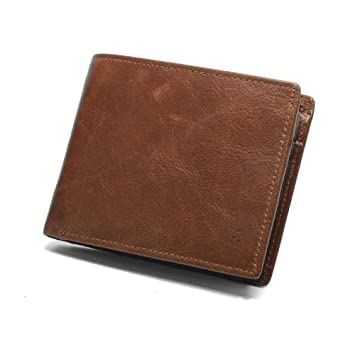 491406dd1 Young & Ming Billetera Bloqueo RFID para Hombre Carteras Marrón de Cuero  Genuino Monedero Bifold con